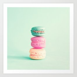 Three colorful macaroons Art Print