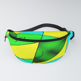 ABSTRACT CURVES #2 (Greens, Light Blue & Yellow) Fanny Pack