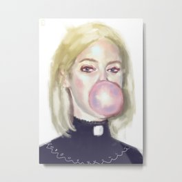Girl In A Bubble Metal Print