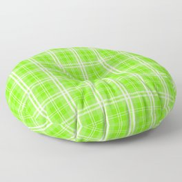 Bright Neon Green and White Tartan Plaid Check Floor Pillow
