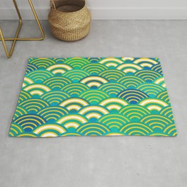 abstract scales simple Spring Nature background with japanese circle Rug