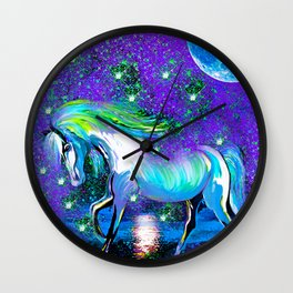 HORSE DANCING IN STAR LIGHT AND MOON DUST Wall Clock