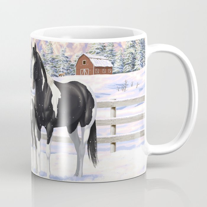 Black Pinto Horse Family Paint Horses In Snow Coffee Mug By Csforest Society6