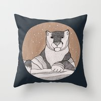snow leopard Throw Pillows featuring Snow Leopard by Diana Hope