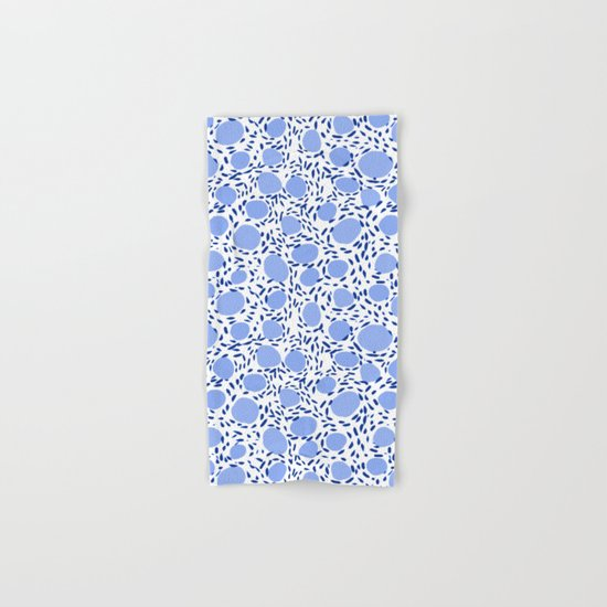 Pebbles cute pattern gender neutral dorm college abstract design minimal modern blue nature art Hand & Bath Towel