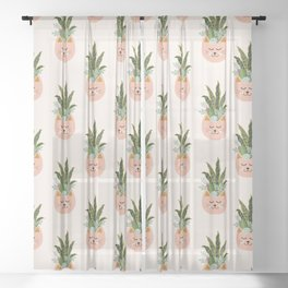 Cats and Plants Sheer Curtain