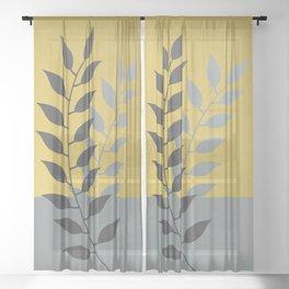 Simply Botanical Gold Grey Green/Blue Sheer Curtain