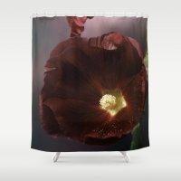 Burgundy Hollyhock Shower Curtain