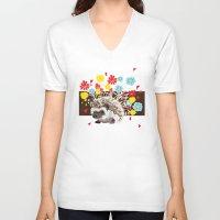 hedgehog V-neck T-shirts featuring hedgehog by Caracheng