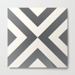 Geometric 70s — gray + cream Metal Print