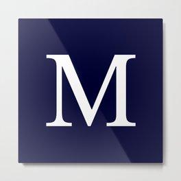 Navy Blue Basic Monogram M Metal Print