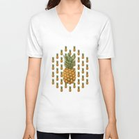 pineapples V-neck T-shirts featuring Pineapples by brocoli art print