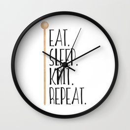 Eat Sleep Knit Repeat Wall Clock
