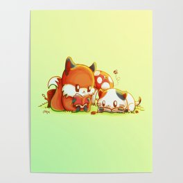 Bookish Fox and Cat Friends Poster