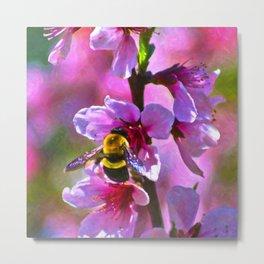 Vibrant Bee Metal Print