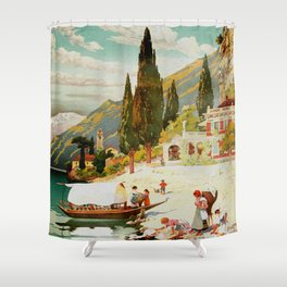 Switzerland and Italy Via St. Gotthard Travel Poster Shower Curtain