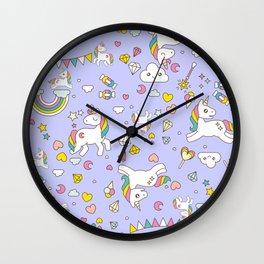 Unicorn Lilac Pattern Wall Clock
