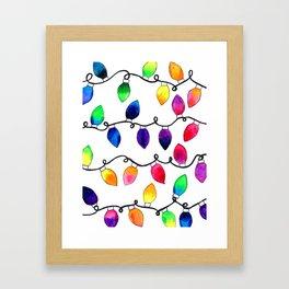 Colorful Christmas Holiday Light Bulbs Framed Art Print