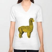 alpaca V-neck T-shirts featuring huacaya alpaca by youareconstance