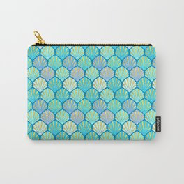 Seashells // Art Deco Shell Fans in blue, teal, turquoise & gold fit for a mermaid! Carry-All Pouch