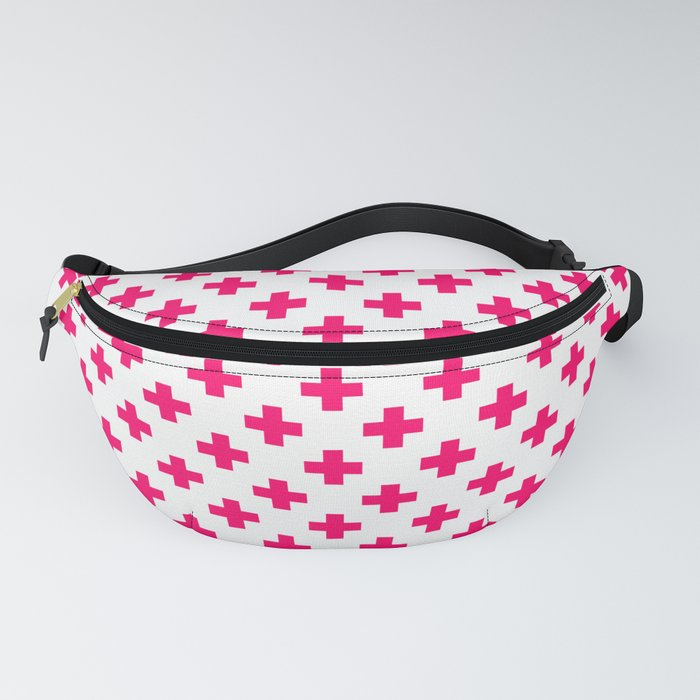 Hot Neon Pink Crosses on White Fanny Pack