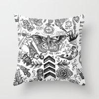 tattoos Throw Pillows featuring OT5 Tattoos by tash