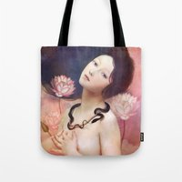lake Tote Bags featuring The Serpent Lake by Christian Schloe