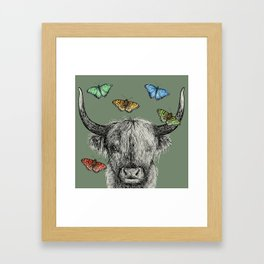 Heather the Highland Cow, Butterflies, pen and ink illustrations, green Framed Art Print