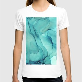 Turquoise Ink Waves Abstract Alcohol Ink T-shirt