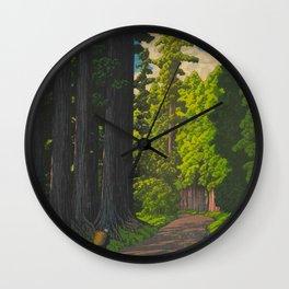 Vintage Japanese Woodblock Print Kawase Hasui Mystical Japanese forest Tall Green Wall Clock