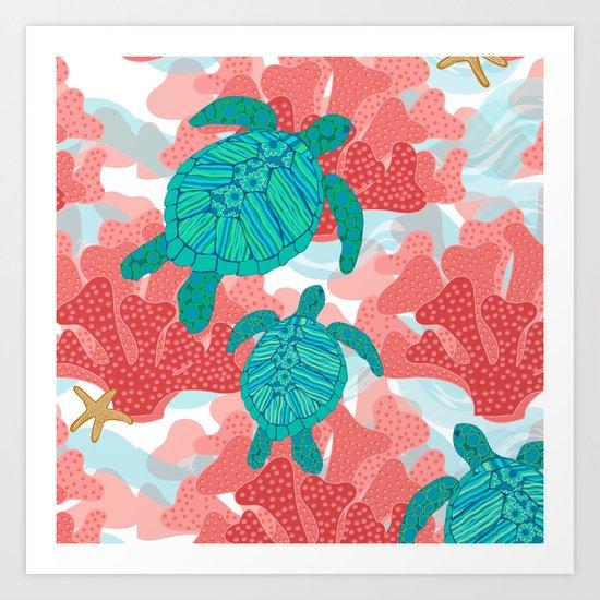 Sea Turtles In The Coral Ocean Beach Marine Art Print By