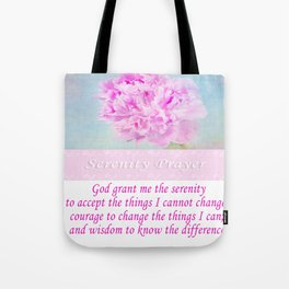 Serenity Prayer With Pink Peony Tote Bag