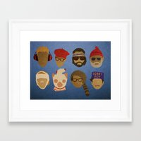 wes anderson Framed Art Prints featuring Wes Anderson Hats by godzillagirl