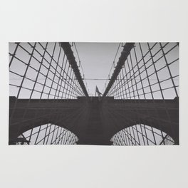New York Brooklyn Bridge iconic black and white photograph zolliophone shop Rug