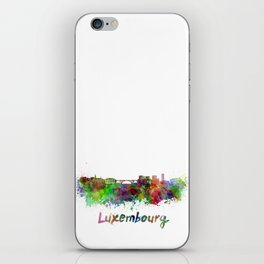 Luxembourg skyline in watercolor iPhone Skin