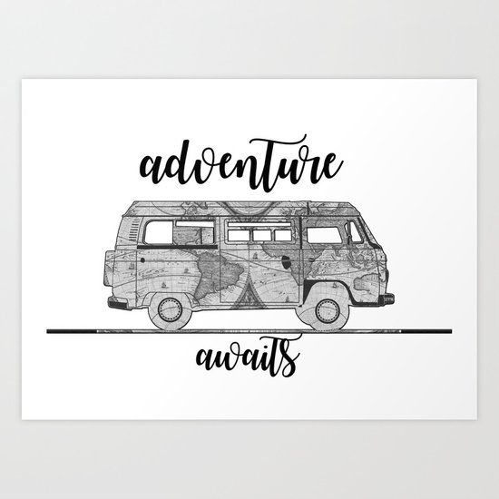 adventure awaits world map design Art Print