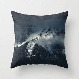 Darkness and clouds over the mountains Throw Pillow