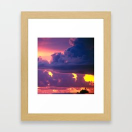 Purple Sunset Over Tiny Island in Micronesia Framed Art Print