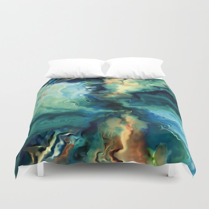 Marbled Ocean Abstract, Navy, Blue, Teal, Green Bettbezug