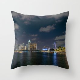 Singapore skyline at night Throw Pillow