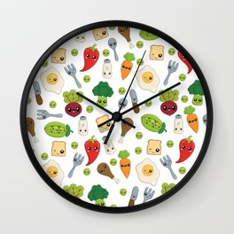 Cute Kawaii Food Pattern Wall Clock