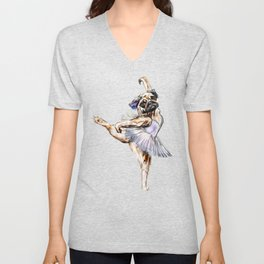 Pug Ballerina in Dog Ballet | Swan Lake  Unisex V-Neck