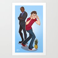 psych Art Prints featuring Psych! by ashley sanborn