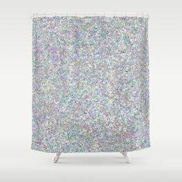 Iridescent Silver Glitz Pattern Shower Curtain