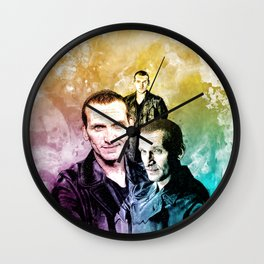 Inspired by Christopher Eccleston the ninth doctor Who in water color Wall Clock