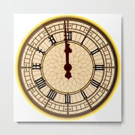 Big Ben Midnight Clock Face Metal Print