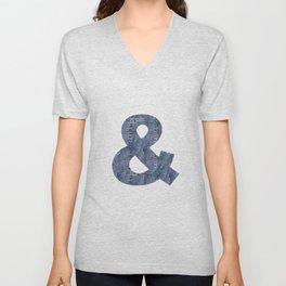 Blue Jeans Denim Pocket Patchwork Unisex V-Neck
