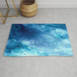 Tie Dye Sea Waves Blue Rug