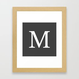 Very Dark Gray Basic Monogram M Framed Art Print