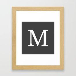 Very Dark Gray Basic Monogram M Framed Art Print
